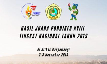 HASIL JUARA PORNIKES XVIII TINGKAT NASIONAL TAHUN 2019